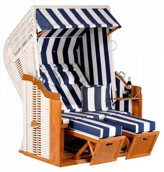 Halblieger Strandkorb Rustikal 250 Plus weiß 2 - Sitzer 1080