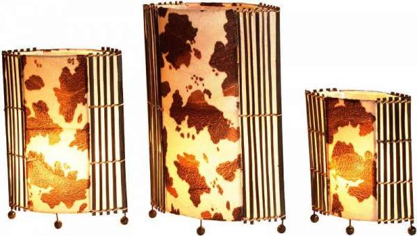 Lamp as a set of 3 in a cowhide design, height 30/40/50 cm