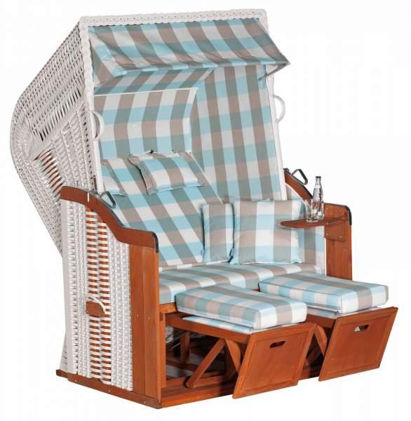 Halblieger Strandkorb Rustikal 250 Plus weiß 2 - Sitzer 1212