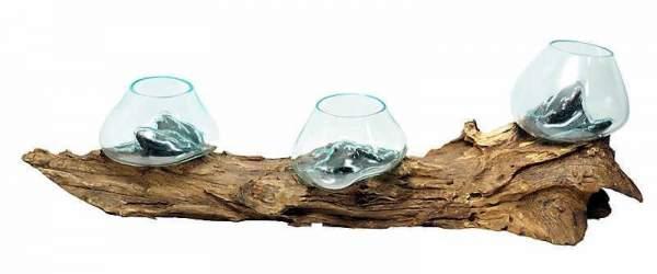 Liqva - Wurzelholz mit 3 Gläsern, Unikat