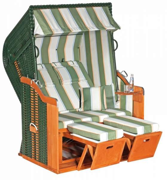 Halblieger Strandkorb Rustikal 250 Plus grün 2 - Sitzer 1202