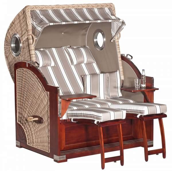Chaise de plage de jardin XL RUSTIKAL 500 PLUS COMFORT blanc antique 1215