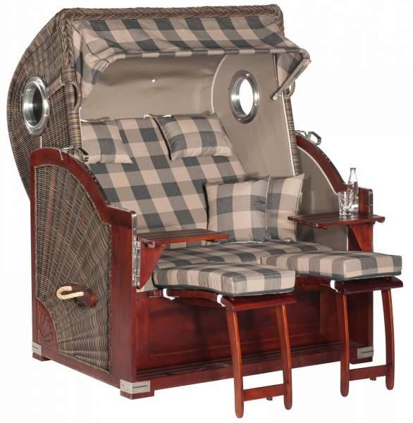 XL Garten-Strandkorb RUSTIKAL 500 PLUS COMFORT cappuccino 1209