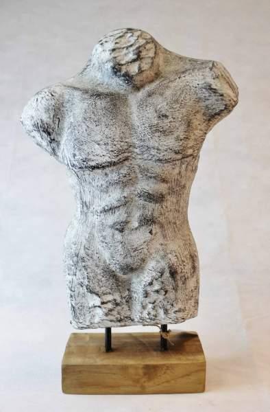 Torso Skulptur Dekobüste Mann Deko Figur auf Holzsockel