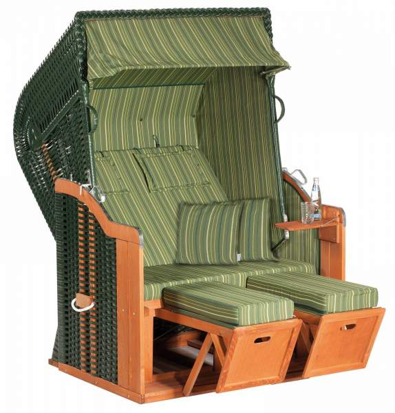 Halblieger Strandkorb Rustikal 250 Plus grün 2 - Sitzer 1198