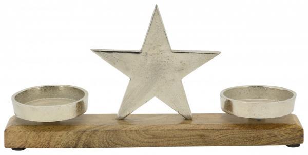 Exner »KerzenHalter Stern Puri« Holz Aluminium