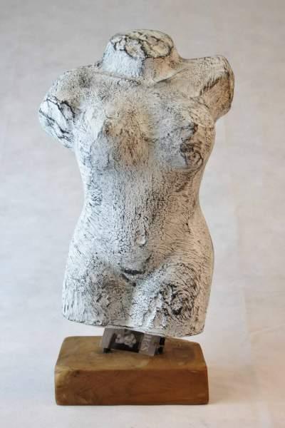 Torso Skulptur Dekobüste Frau Deko Figur auf Holzsockel