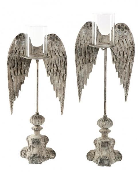 Exner »FlügelKerzenHalter ArtFerro« grau Metall