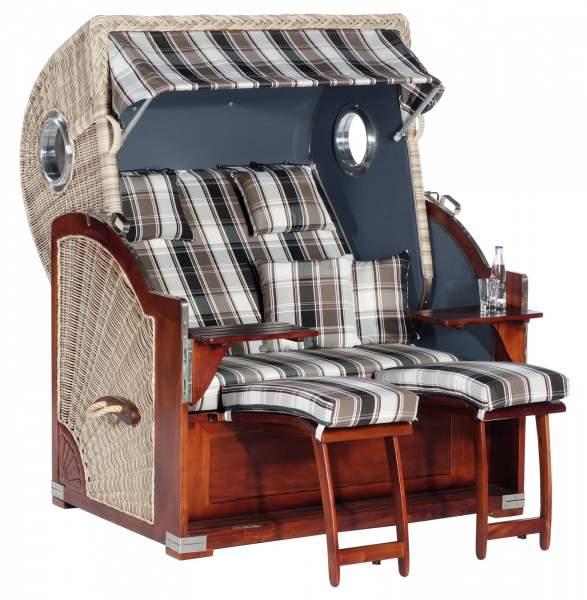 Chaise de plage de jardin XL RUSTIKAL 500 PLUS COMFORT blanc antique 1217