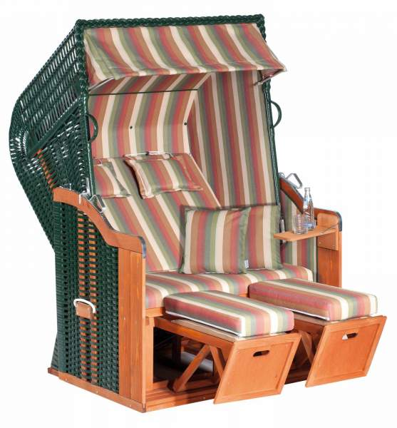 Halblieger Strandkorb Rustikal 250 Plus grün 2 - Sitzer 1211